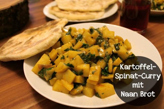 Rezept // Kartoffel-Spinat-Curry mit Naan Brot