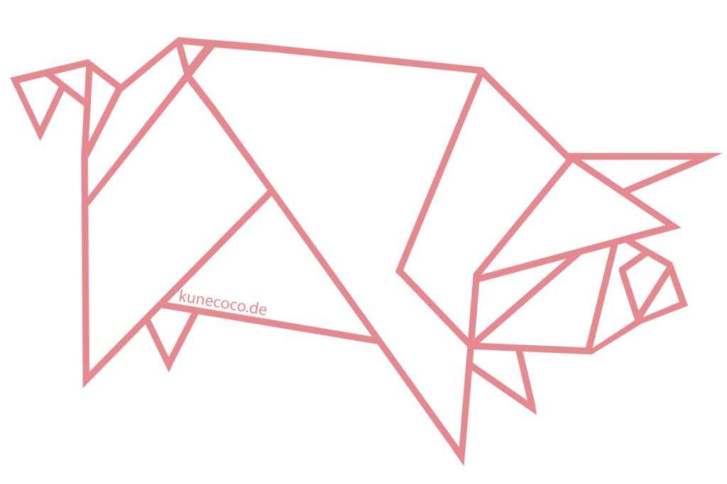 KuneCoco: Origami Schwein, Origami Pig Vorlage