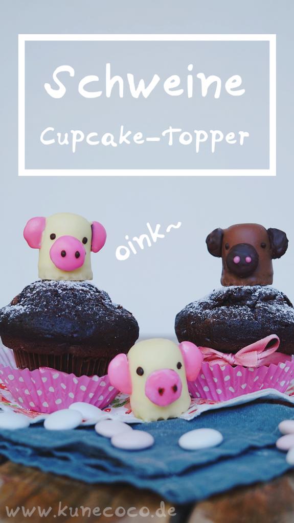 KuneCoco • Schweine Cupcake-Topper • Schweine aus Schokoküssen