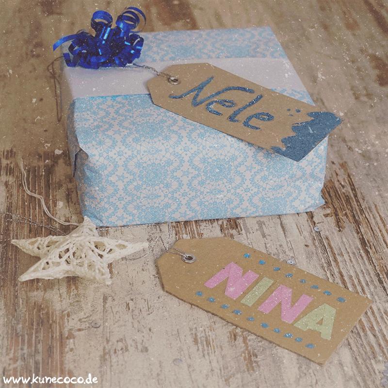KuneCoco • Blogging under the mistletoe • Geschenkanhänger zum selber basteln mit Glitzer