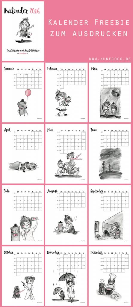 KuneCoco • Kalender 2016 • Kalender Freebie zum Ausdrucken