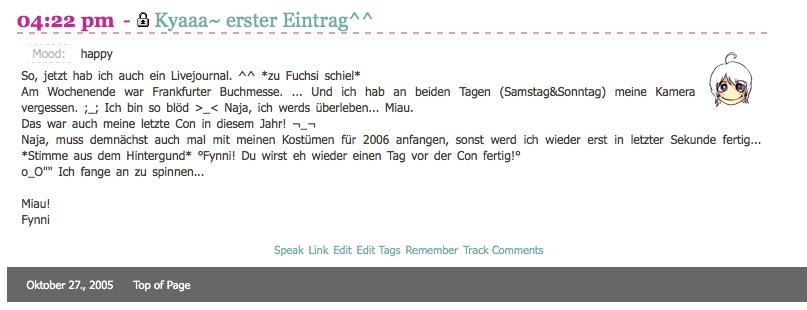 KuneCoco • Mein erster Blogpost von 2005