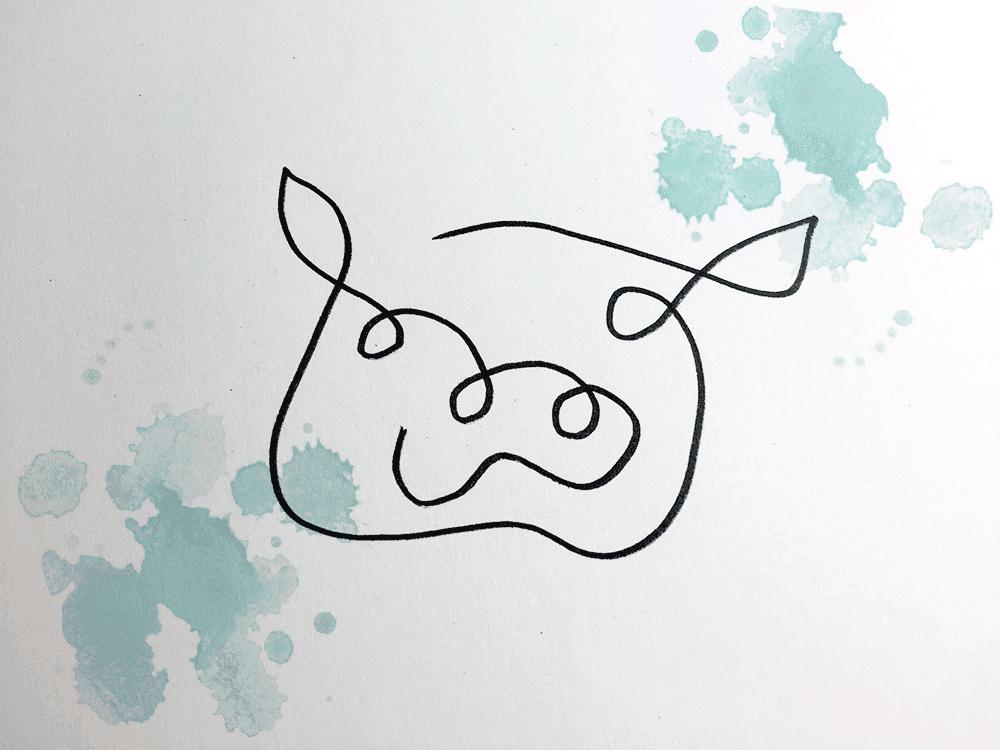 Das Schwein mit einem Strich