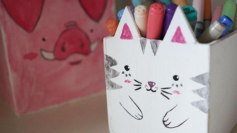 KuneCoco • DIY Stifteboxen • Schwein und Katze