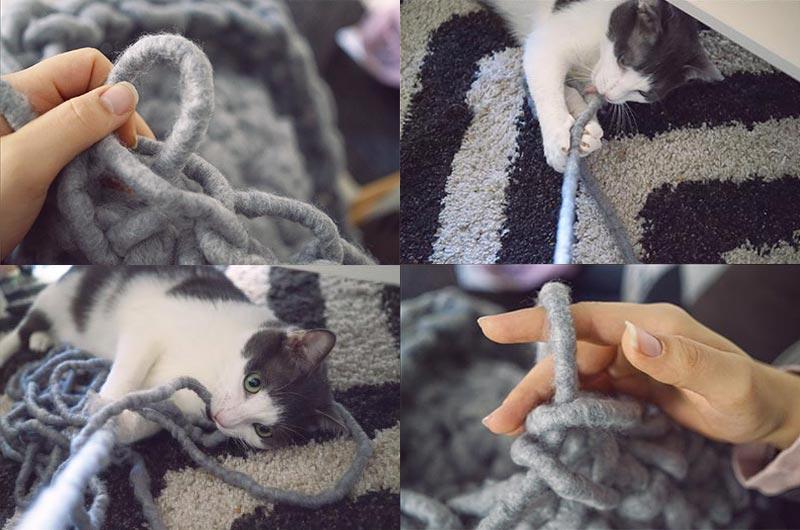 KuneCoco • Winterzeit ist Bastelzeit! • Katzenbett aus XL-Wolle von Tchibo