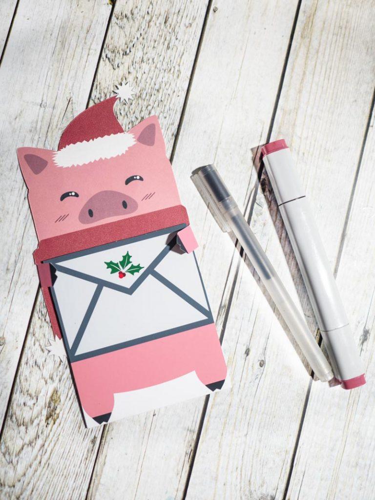 Schweine-Wunschzettel für Weihnachten
