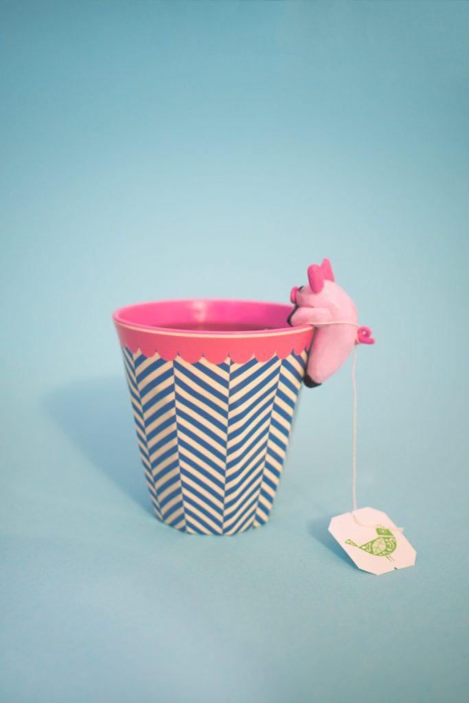 Teebeutelhalter aus Fimo in Schweineform