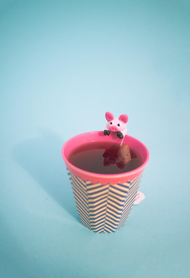 DIY // Schweine Teebeutelhalter aus Fimo