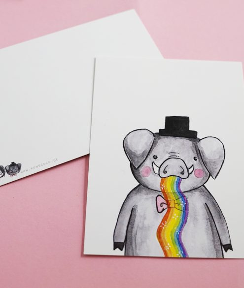 Postkarte Rainbowschwein