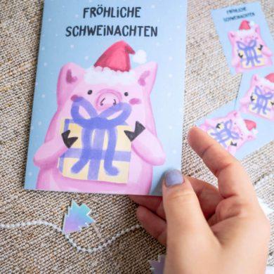 KuneCoco • Freebie Weihnachtskarte • Fröhliche Schweinachten