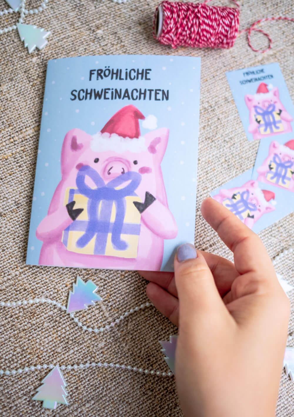 Freebie Weihnachtskarte • Fröhliche Schweinachten