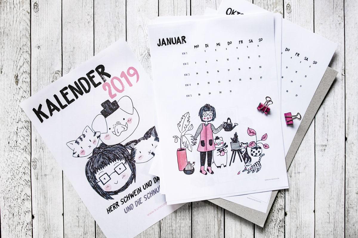 KuneCoco Kalender 2019 zum Ausdrucken