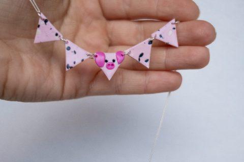 KuneCoco • DIY Fimo • Geometrische Schweinchenkette
